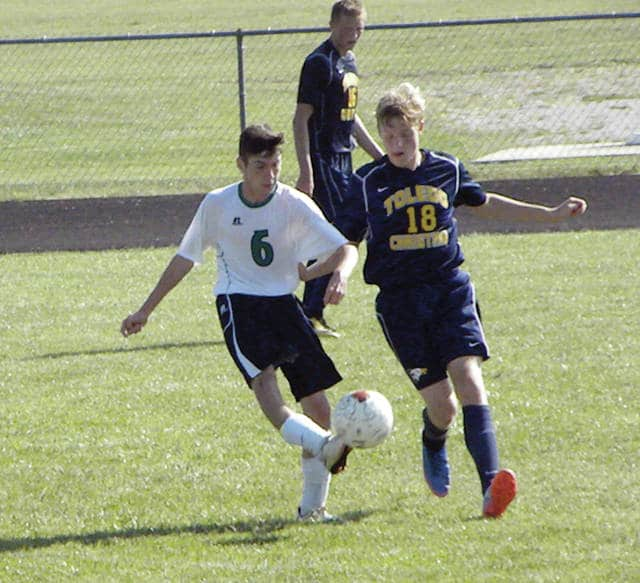 Delta's Kyle Hadley (6) kicks the ball versus Toledo Christian Saturday. The Panthers shut out the Eagles 4-0.