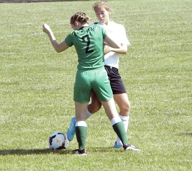 Courtney Riches of Delta, right, fights for possession of the ball with an Ottawa Hills player in Saturday's game.