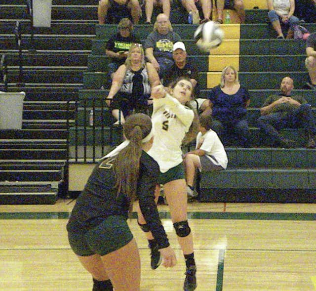 Cecilia Silvestri of Evergreen with a dig Tuesday versus Delta in NWOAL play. The Vikings outlasted the Panthers in four sets.