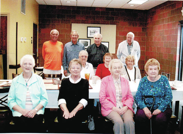 The Wauseon High School Class of 1951 shared a meal and memories recently at a reunion held at Sullivan's Restaurant in Wauseon. Pictured are - front row, from left - Marjorie Burkholder Olmstead, Rita Struble Nard, Phyllis Garman Fink, Beverley Barrett Smith - middle row, from left - Irene Colon Willeman, Jan Shippy, Kay Drummer Falor - back row, from left - Roger Watkins, and Bob Wiler.