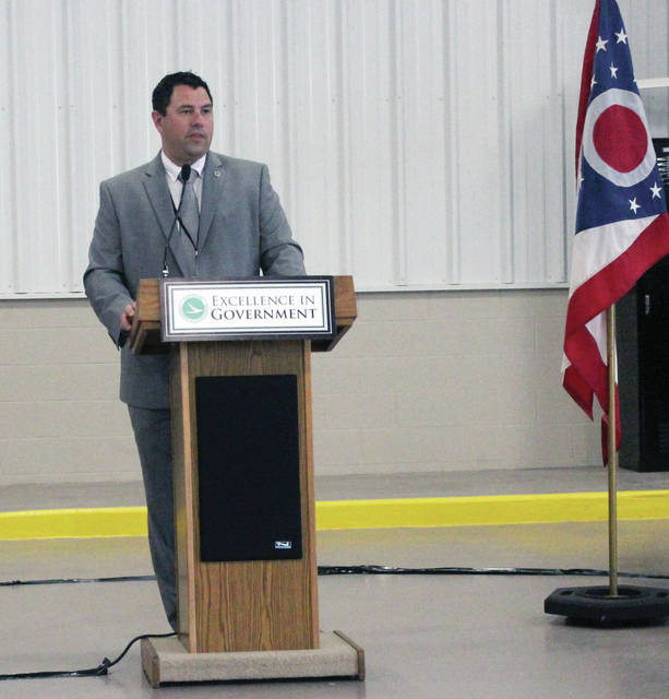Patrick McColley, ODOT District 2 deputy director, speaks during the open house and ribbon cutting at the new Fulton County garage.