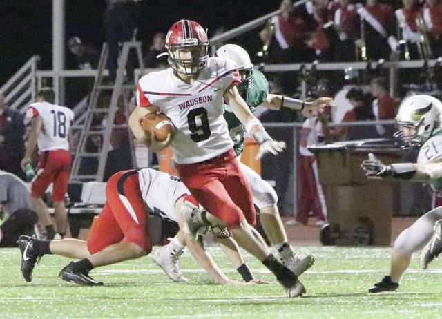 Wauseon's Connar Penrod with room to run in the open field Friday against Evergreen. The Indians used a big second half run to defeat the Vikings, 42-14.