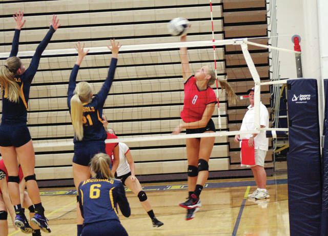 Karli Penrod of Wauseon shoots one from the left side Tuesday versus Archbold. The Indians bested the Blue Streaks in four sets.