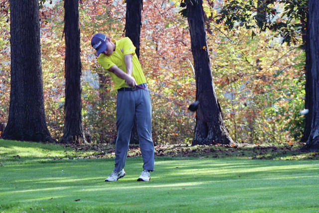 Trevor Rupp of Archbold at the tee during the NWOAL Golf Championships Sept. 22. He shot an 83 Thursday at the sectional golf tournament as the Blue Streaks finished runner-up to Toledo Central Catholic.