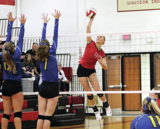 Lexi Sauber of Wauseon fires a kill from the right side Saturday against St. Marys Memorial. The Indians fell to the Roughriders in four sets in a Division II sectional final.