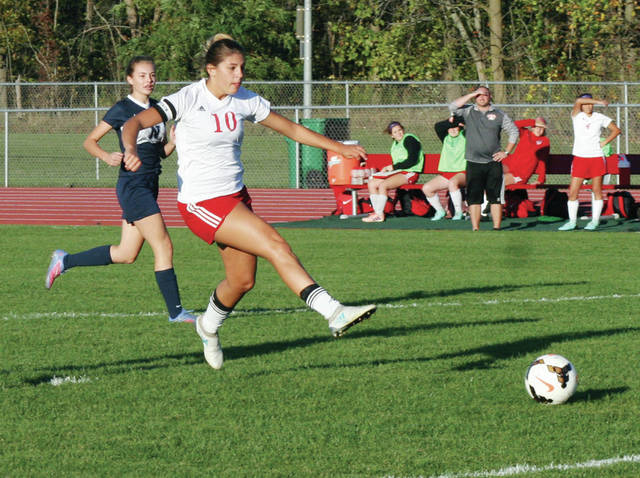 Jaydelin Vasvery of Wauseon puts a shot on goal late in the game Tuesday versus Napoleon in the Division II girls soccer sectional semifinal. The Indians fell by a 2-1 final.