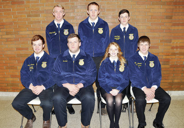 Officers of the 2017-18 Four County Career Center FFA chapter include - front, from left - Braydon Hearne of Fairview, president; Jon Baker of North Central, vice president; Abby Yeager of Defiance, secretary; Timothy Herman of Edgerton, treasurer - back, from left - George Kunkle of Hilltop, student advisor; Cole Crites of Fairview, reporter; Caleb Sager of Fayette, sentinel. FCCC advisors include Jason Elston, Florence Luzny, Eric Hite, Denton Blue, Larry Soles, and Stephanie Pippin. Four County Career Center FFA chapter members include over 130 students who work on chapter projects, compete in district, state, and national FFA leadership and skill competitions, and sponsor student assemblies throughout the school year.