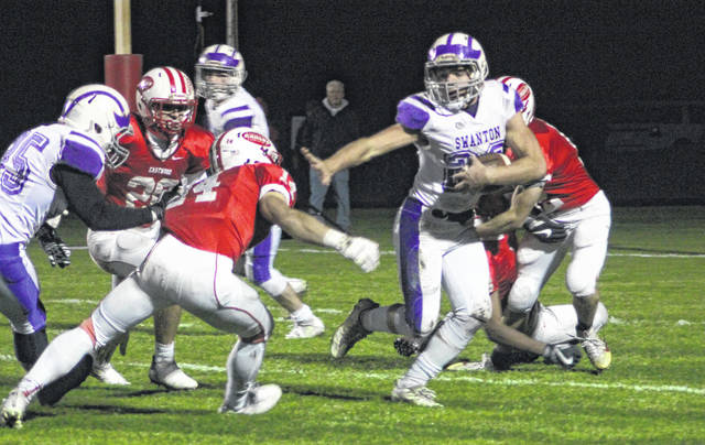 Swanton's Michael Lawniczak returns a first half kickoff against Eastwood on Friday.
