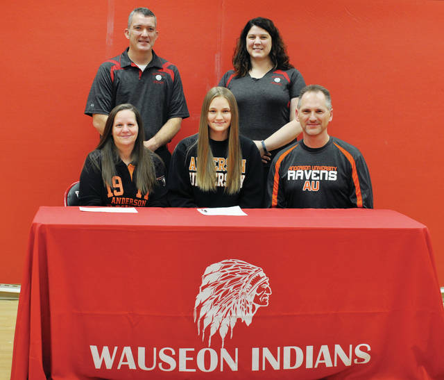Jennifer Sanders of Wauseon recently committed to continue her education and volleyball career at Anderson University in Anderson, Ind. Pictured, front row, from left: Tonya Sanders (mother), Jennifer Sanders, Doug Sanders (father). Back row: Wauseon head volleyball coach Bill Blanchong and assistant coach Kayla Heising.