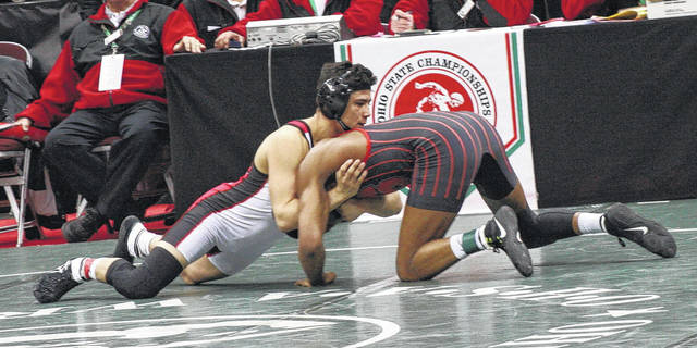 Wauseon's Sandro Ramirez, left, wrestles at the state tournament back in March. He returns for his senior season after finishing as state runner-up the last two years.