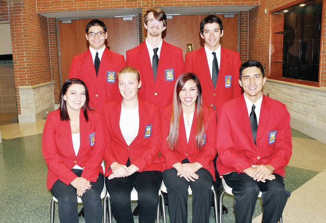 Officers of the over 500-member Four County Career Center Skills USA chapter include - front, from left -President Haylee Wyckhouse of Liberty Center, Nicole Berger of Evergreen, Edith Avalos of Hicksville, Juan Carlos Alvarez of Wauseon - back, from left - Richie Ludeman of Defiance, Sidney Schultz of Bryan, and Adrian Ortiz of Defiance. This year, Skills USA is participating in the state and national Skills USA leadership and skill competitions, and sponsorship of student assemblies. Steve Steingass is lead advisor.