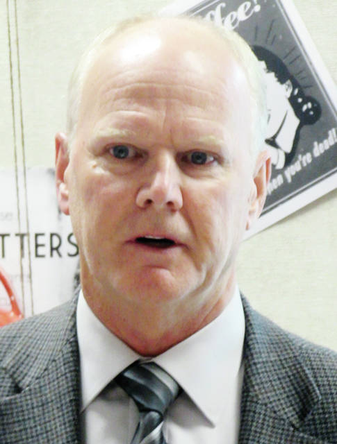 Jerry Overmier, an architect for Beilharz Consulting in Defiance, gave an update Monday to the Wauseon school board on plans for the district's new Board of Education building.