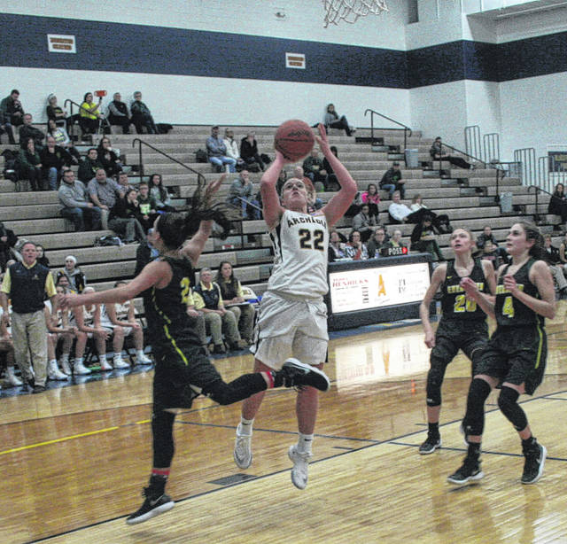 Andi Peterson of Archbold pulls up and hits a jumper Friday against Evergreen in a Northwest Ohio Athletic League contest. Thanks to a strong second half, the Blue Streaks pulled away to beat the Vikings 60-33.