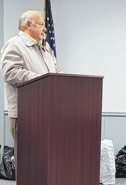 Benjamin Wood of Swanton speaks at the December Swanton Village Council meeting, asking Council members not to sell a piece of land that abuts his property.