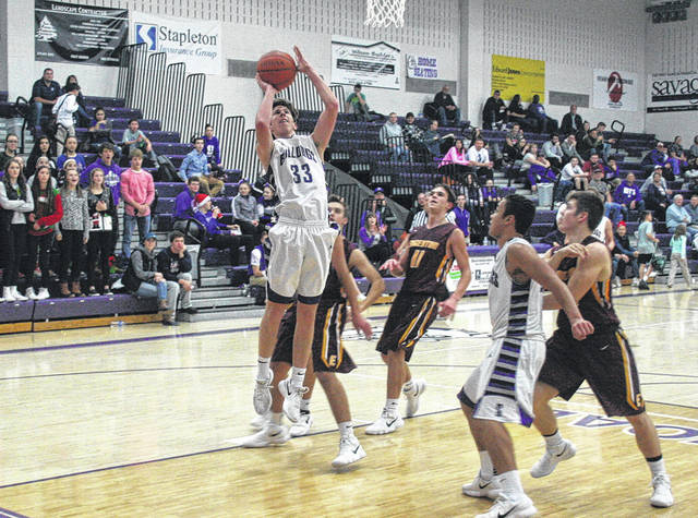 Swanton's Zach Bloom makes a basket inside Tuesday versus Edgerton. Swanton would fall to the visiting Bulldogs by a 42-28 final.