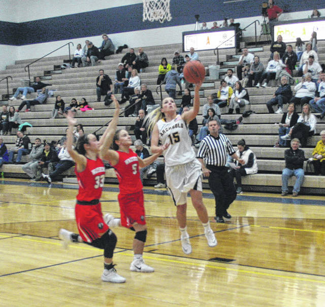 Archbold's Blair Bucklew with an open layup Friday against Wauseon in non-league action. The Blue Streaks raced out to an early lead and never looked back, hammering the Indians 79-29.