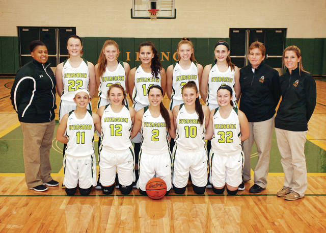 The 2017-18 Evergreen girls basketball team.
