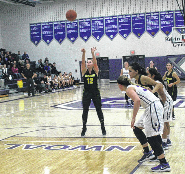 Evergreen's Jamie VanLoocke hits a free throw Friday against Swanton. The Vikings bested the Bulldogs by a 51-49 final.