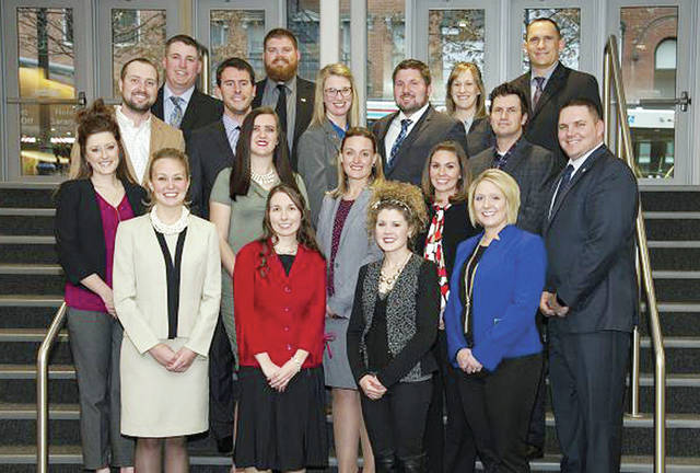 YAP leaders pictured are - first row, from left - Emily Krikke, Shelly Hawthorne, Lauren Schwab, Liza Musselman – second row, from left – Casey Converse,Cassandra Dull, Elizabeth Long, Jessica Dailey, Bennett Musselman – third row, from left – Dustin Converse, Luke Dull, Brandi and Wes Montgomery, Nick Dailey – back row. from left – Eric Prysi, Doug Toops, Theresa and Greg Corcoran.