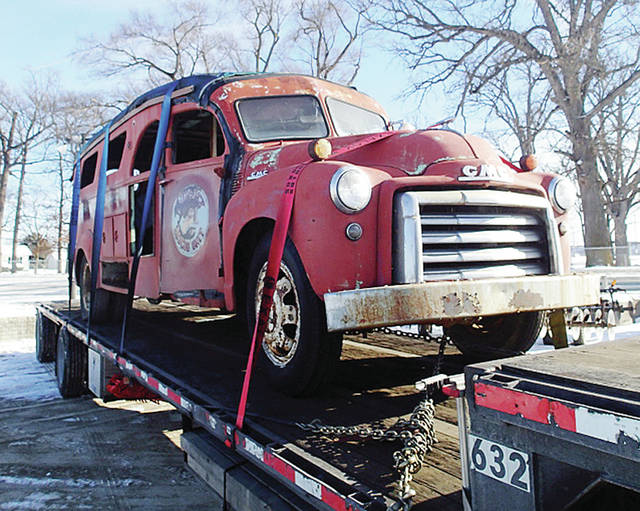 The 1951 Wauseon fire rescue truck, with its emblem still visible on the door, was returned to Wauseon last week after spending decades in storage in Washington State.