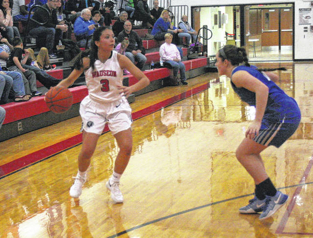 Alexis Suarez of Wauseon, left, looks to initiate some offense for the Indians in their game against Defiance Tuesday. Wauseon was defeated by Defiance 53-40.