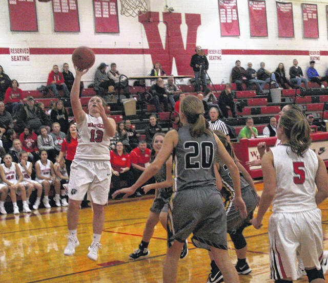 Rylee Campbell of Wauseon lays one up and in Tuesday versus Pettisville. She scored 11 points for the Indians as they took down the Blackbirds 45-43.