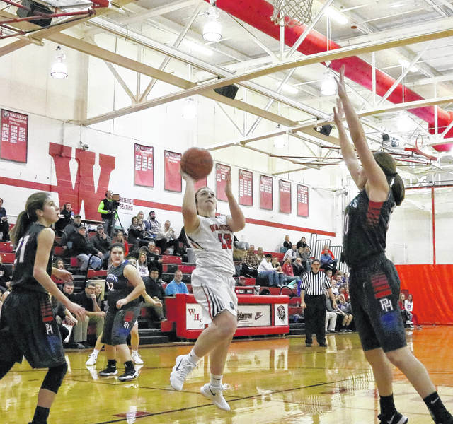 Wauseon's Rylee Campbell hits a shot Friday against Patrick Henry in Northwest Ohio Athletic League play. She led all scorers with 19 points, but the Indians fell to the Patriots 60-38.