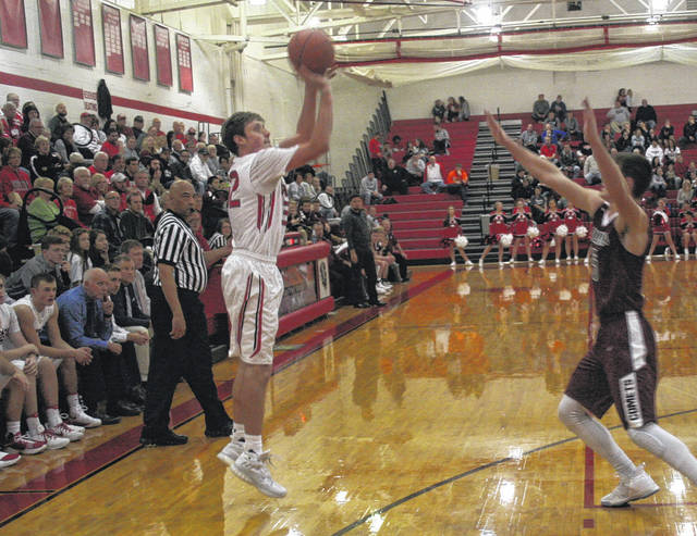 Wauseon's Brooks Gype shoots one in a game against Genoa earlier this season. The Indians were ranked at the top in Division II in the first edition of Associated Press boys basketball rankings released at the beginning of the week.