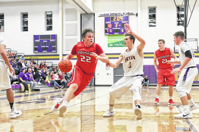 CJ Moser of Wauseon handles the ball Friday at Bryan in NWOAL play. The Indians defeated the Golden Bears 60-38, then added a 57-29 win over Rossford on Saturday.
