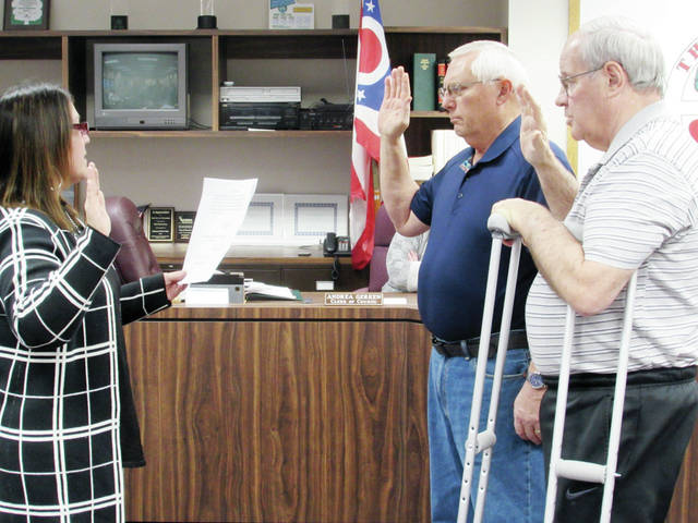 Wauseon Mayor Kathy Huner swore in new City Council members Harold Stickley and Steve Schneider during a Jan. 3 meeting.