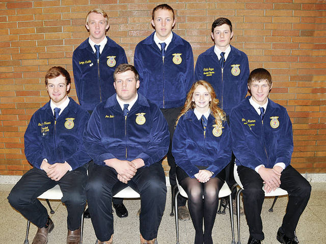 Four County Career Center FFA Chapter members selected their officers for the 2017-18 year. Front, from left, are Braydon Hearne, president; Jon Baker, vice president; Abby Yeager, secretary; Timothy Herman, treasurer - back, from left - George Kunkle, student advisor; Cole Crites, reporter; and Caleb Sager, sentinel. Advisors include Jason Elston, Florence Luzny, Eric Hite, Denton Blue, Larry Soles, and Stepanie Pippin. FFA members include over 130 students.