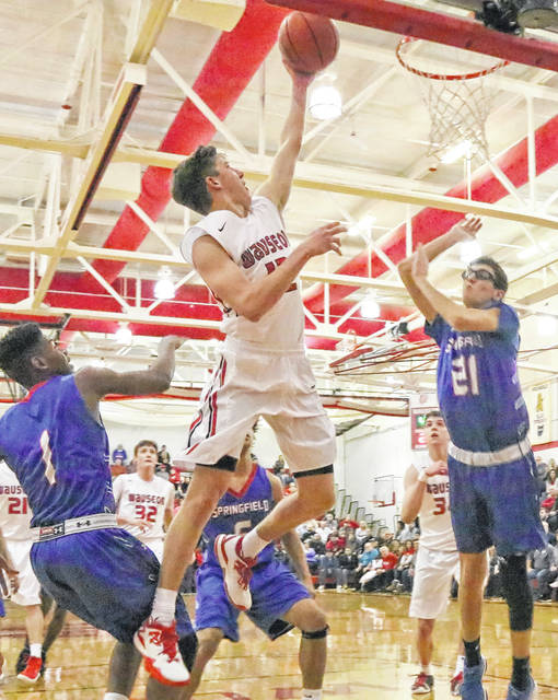 Trent Armstrong of Wauseon lays one in Saturday against Springfield. Armstrong had 17 points to help lead the Indians to a 69-47 win.