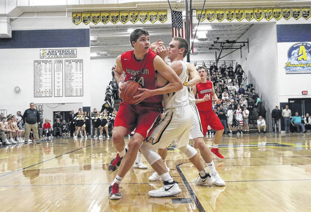 Austin Rotroff of Wauseon works towards the basket in the league game at Archbold. Wauseon was selected as the top seed in the Division II, Ada District.