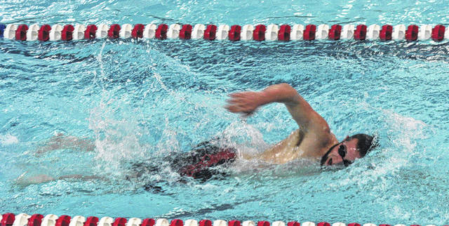 Austin Schuette of Wauseon competes in the 500 yard freestyle at a home meet this season. This past weekend at the sectional meet, Schuette won the 500 yard freestyle to advance to districts.