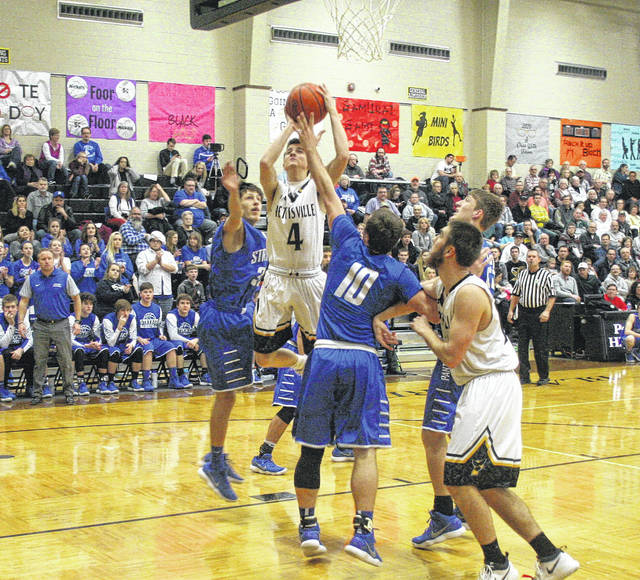 Detric Yoder (4) scores for Pettisville Friday against Stryker in Buckeye Border Conference action. The Blackbirds dropped their first league game of the season, falling to the Panthers 54-44.