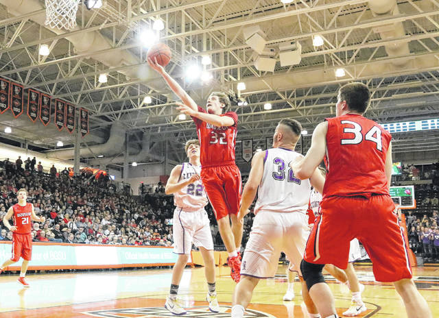 Wauseon's Brooks Gype lays one in during the Division II regional semifinal Thursday at the Stroh Center on the campus of Bowling Green State University. The Indians fell to Lexington 52-46, ending their season.