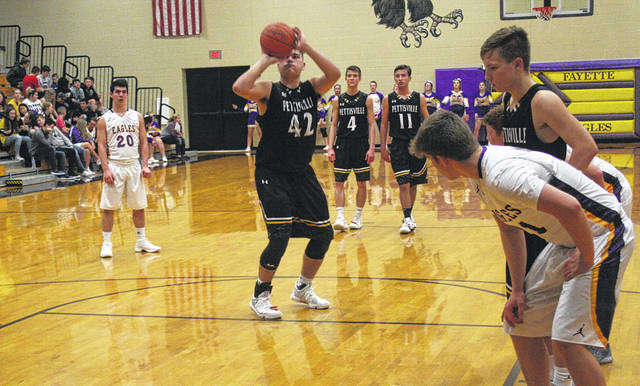 Graeme Jacoby of Pettisville at the free throw line in a game this season. He was first team All-BBC for the Blackbirds.
