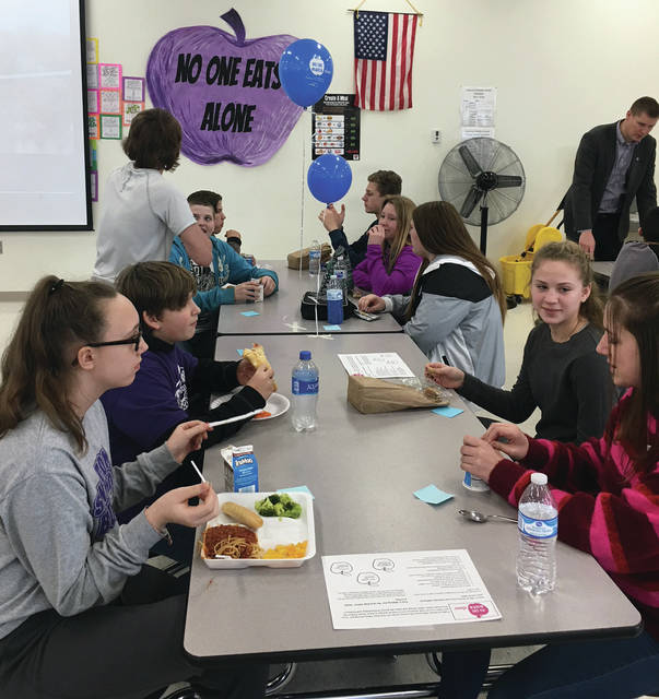 No one ate alone last Thursday at Swanton Middle School as students and staff spent the lunch period working to create a more friendly and inclusive environment.