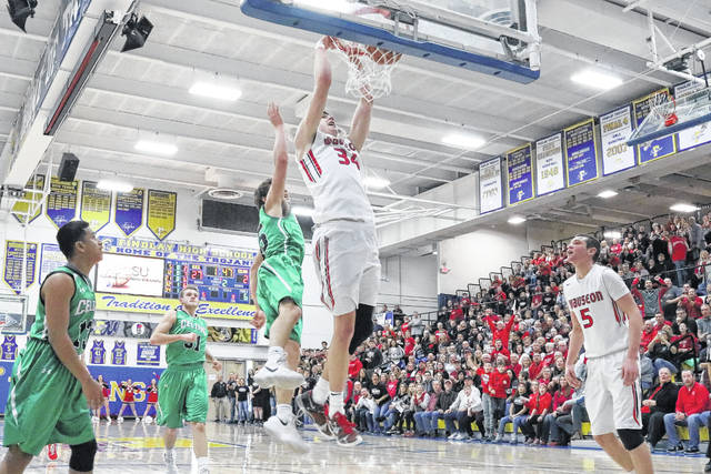 Austin Rotroff of Wauseon slams one home and converts a free throw for a three-point play in which he eclipsed 1,000 points for his career Friday versus Celina in the sectional final. The Indians defeated Celina 51-19.