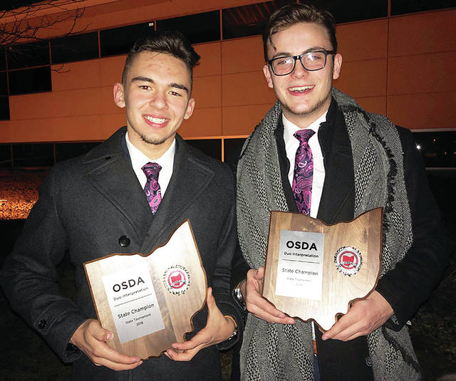 WHS Speech and Debate Team members Christian Cantu, left, and Colton Blanton were named champions at the recent Ohio Speech and Debate Association's state finals held in Sylvania.