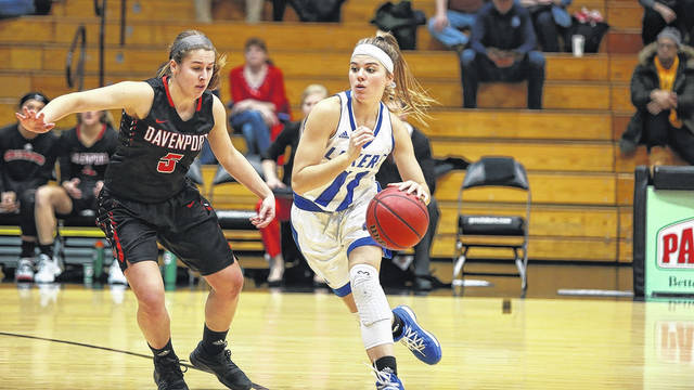 Wauseon native Natalie Koenig handles the ball in a game for Grand Valley State this season. She made second team All-Great Lakes Intercollegiate Athletic Conference in her first season with the Lakers.