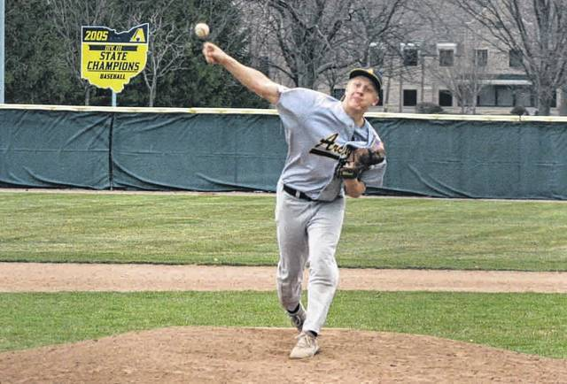 Archbold's Brandon Miller was the winning pitcher for the Bluestreaks in the first game of a doubleheader against Fairview Friday. The Streaks won game one 7-0 and game two by a final of 12-2.