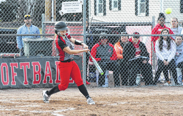 Ally Tefft of Wauseon smashes a home run at home versus Edon Monday. The senior finished with a pair of home runs to lead the Indians to a 10-0 victory.