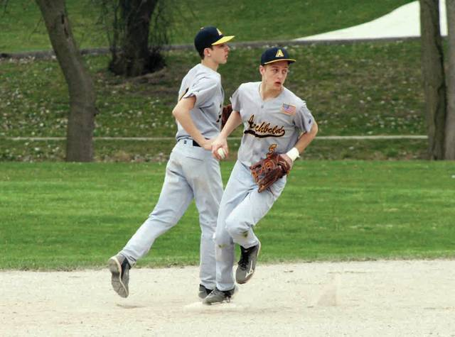 Bryce Williams of Archbold steps on second for the final out of the bottom of the second inning Monday against Swanton.