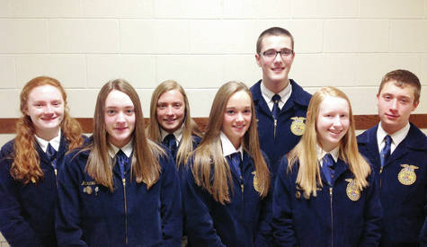 Recently, the Pettisville FFA elected officers for the 2018-19 school year. They will be installed at the Pettisville FFA Parent Member Banquet. Pictured, from left, are Kayla Wyse, president; Mauricea Crouch, treasurer; Brandi Schnitkey, vice president; Elizabeth Beck, reporter; Matt Rupp, student advisor; Jessie McWatters, secretary; and Drake McKeever, sentinel.