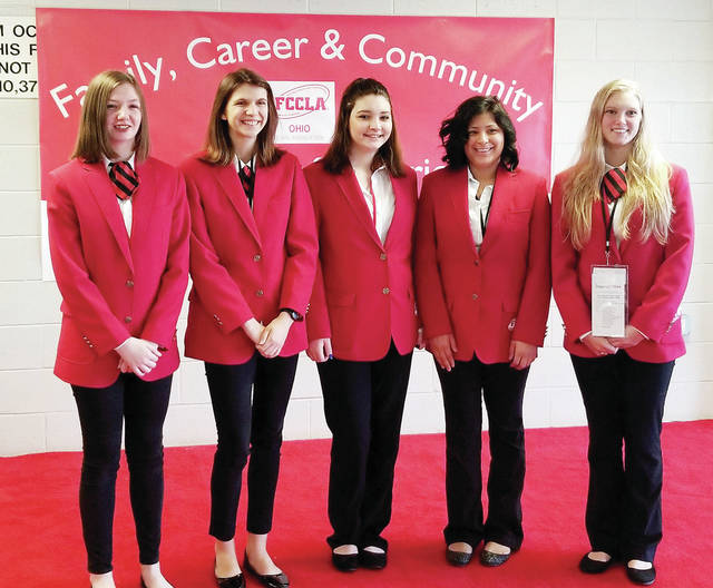 Five students from Four County Career Center's Family, Career and Community Leaders of America (FCCLA) have earned a first, second or third place rating at the State FCCLA Leadership Conference in Columbus. They earned the right to advance to national competition, to be held in Atlanta, Ga., June 28 - July 2. Shown at the conference are, from left, Sabrina Page of Liberty Center, third place rating; Bailey Bowen of Edgerton, third place rating; Coralee Flanary of Hicksville, third place rating; Natalia Flores of Archbold, second place rating; and Kathryn Ewers of Edon, third place rating. The FCCLA participants are challenged to complete a project in their area of career and technical training within a specified time period while being scored by a panel of judges. The school's FCCLA lead advisor is Michele Nafziger.