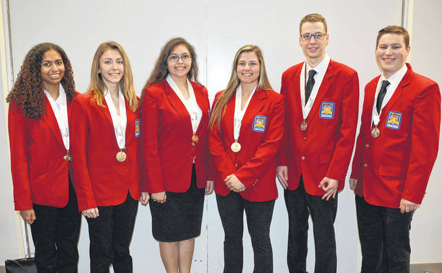Six students from Four County Career Center received Medals in the 2018 Skills USA State Championships in Columbus for placing in the top three in the State of Ohio in their skill competition. Four of these students have qualified to compete at the 2018 Skills USA National Championships in Louisville, Kentucky in June. Students who received medals are, from left: Keyera Anderson (Defiance); Tiffany Bechstein (Liberty Center); and Mia Beltran (Delta) - all part of the Crime Scene Investigation Team and will be competing at Nationals; Haylie Sheets (Liberty Center) Job Skills Open will be competing at Nationals; Reese Knapp (Archbold) Plumbing; and Andrew Canada (Pettisville) Internetworking. The Skills Ohio Championships consists of over 100 career, technical and leadership contests. Participants are challenged to complete a project in their area of career and technical training within a specified time period while being scored by a panel of judges.