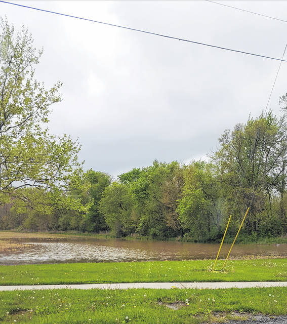 Heavy rain has led to flooding in area fields, such as this one near Swanton High School.
