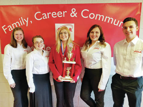 Pettisville High School's Family, Career, and Community Leaders of America members attended the Ohio FCCLA Leadership Conference in Columbus on April 26-27. The chapter was recognized as an Outstanding Ohio FCCLA chapter. Zoe Bullano competed in Fashion Construction and placed second in the event. She will be competing at the National FCCLA Conference in Atlanta, Ga. Mackenzi Rivera, Autumn Ryan, and Evan Warner received their Power of One Degrees. Pictured, from left, are Mackenzi Rivera, Autumn Coffey, Zoe Bullano, Autumn Ryan, and Evan Warner.