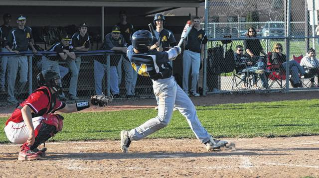 Kade Kern of Archbold knocks in the go-ahead run with a hit in the bottom of the sixth inning Monday versus Wauseon. The Bluestreaks tallied four in the sixth to help them to a 11-7 win.